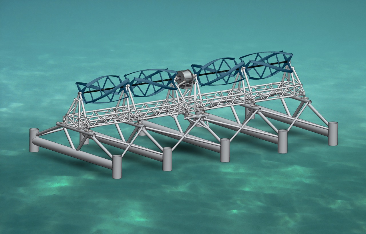 Rendering of the tidal turbines to be mounted on the ocean floor near ...